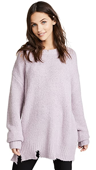 Moon River Lavender Distressed Sweater In Lavender