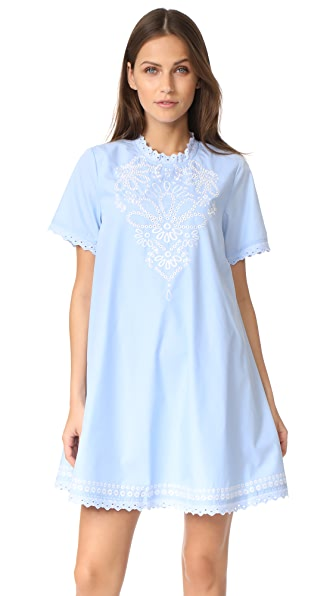 Moon River Woven Dress In Light Blue