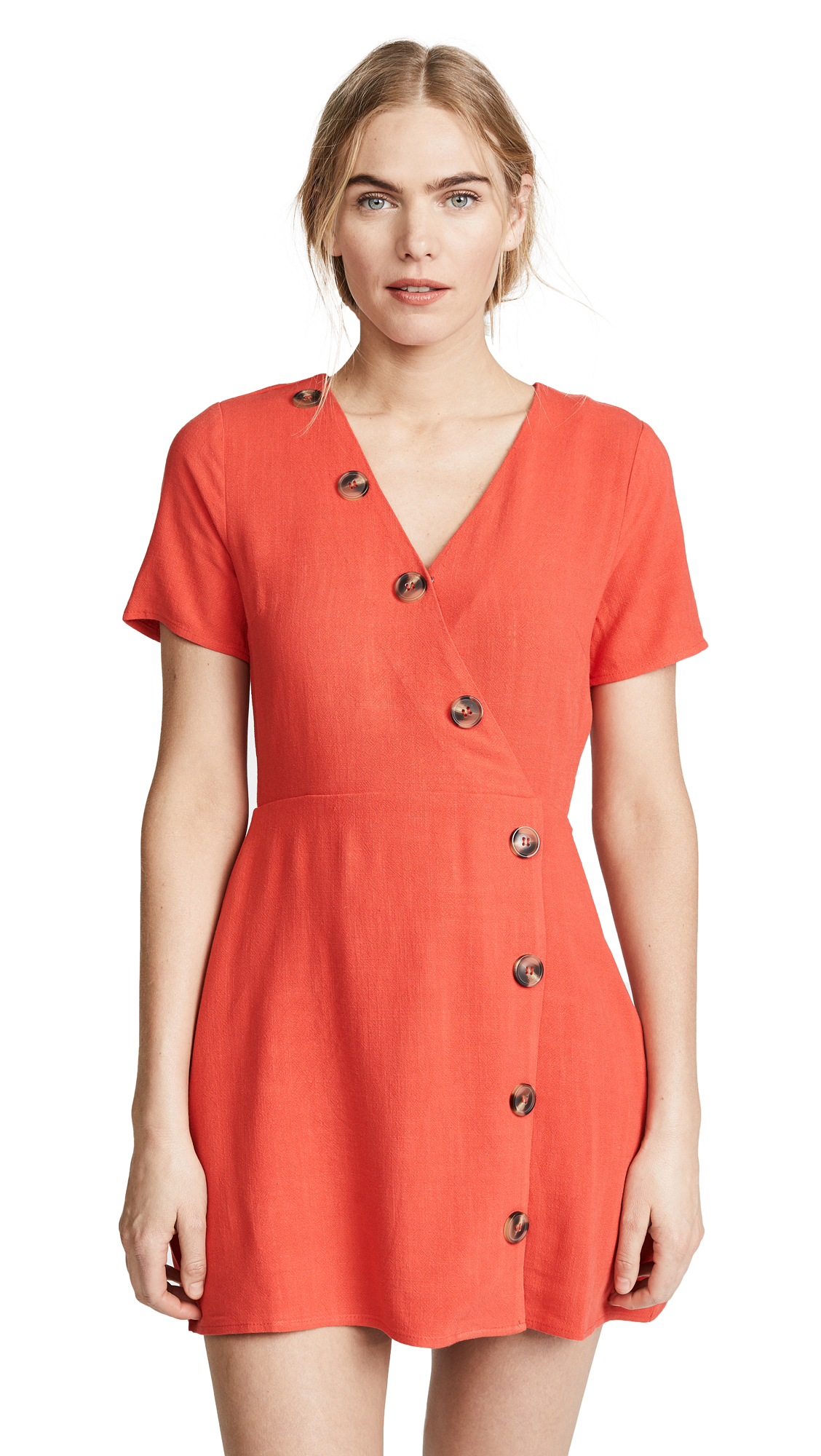 Moon River Red Button Front Dress