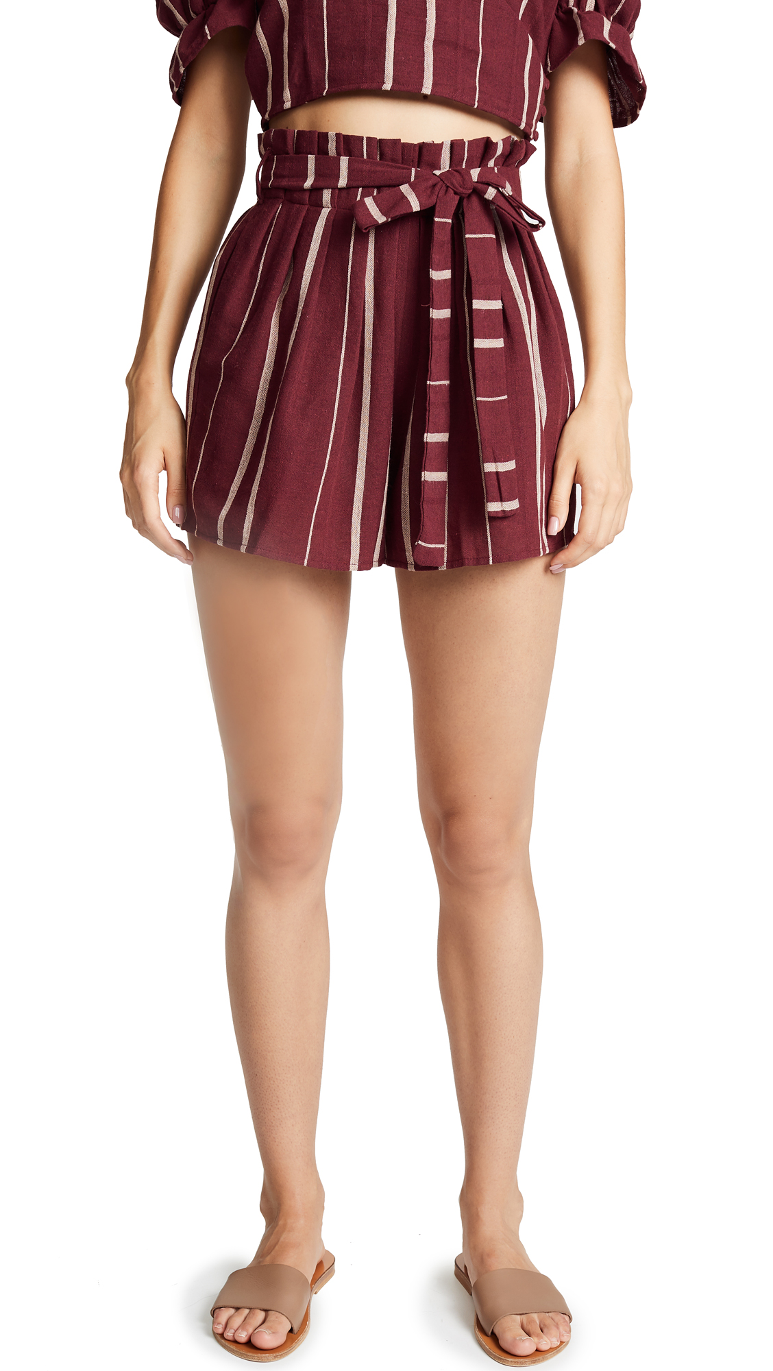 Moon River Paperbag Waist Shorts - Wine/Tan Stripe