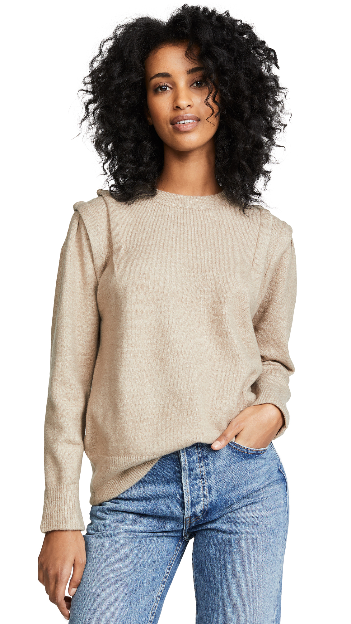Moon River Folded Sleeve Sweater In Taupe