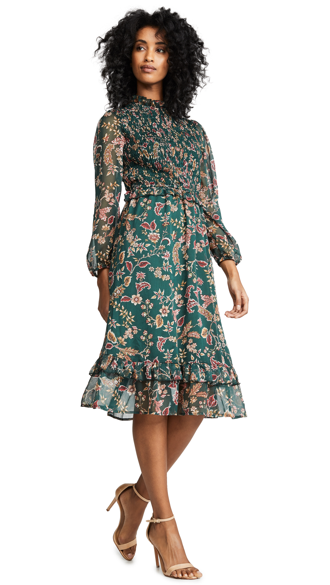 Moon River Floral Midi Dress - Pine Paisley