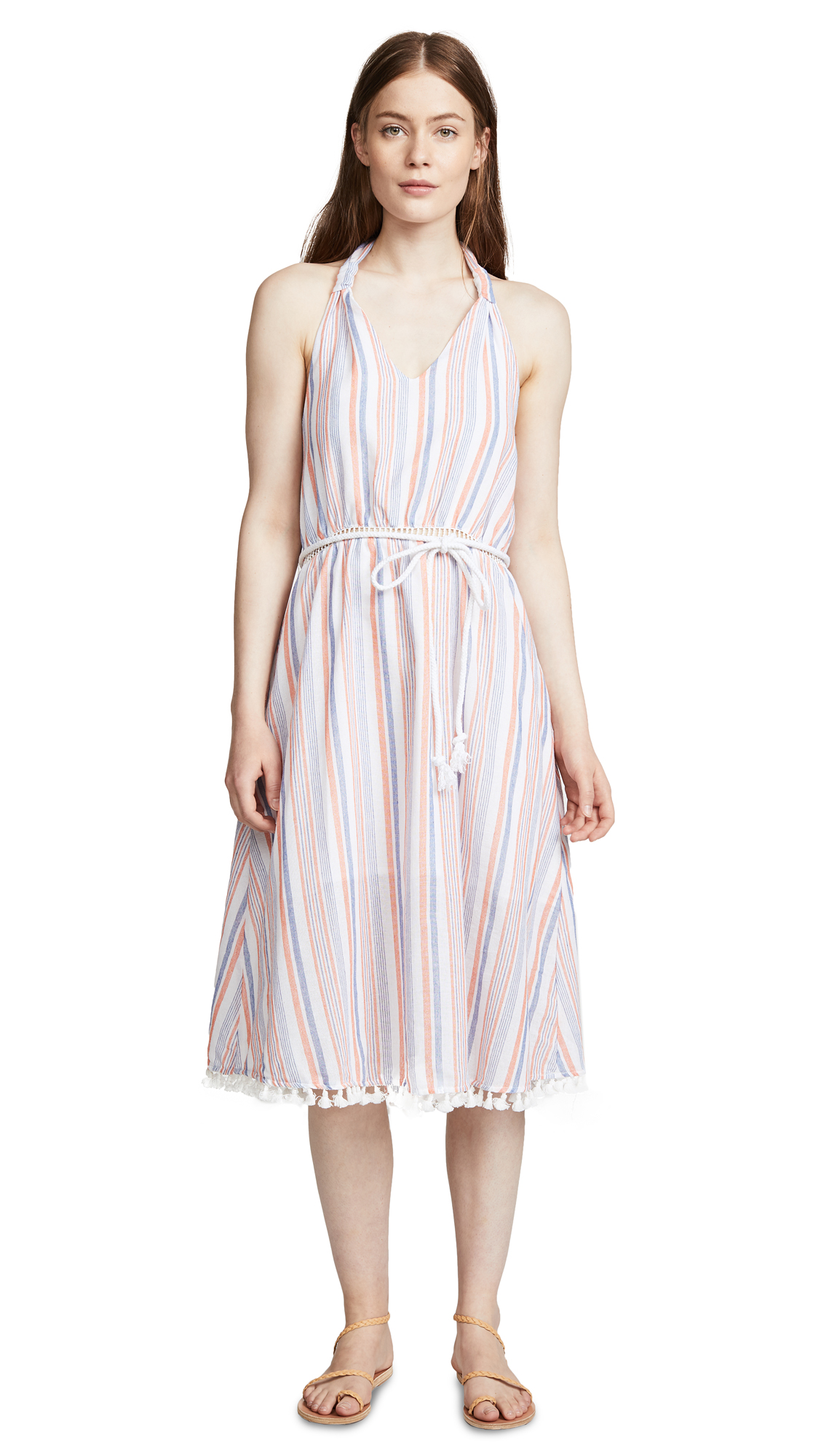 Moon River Striped Halter Dress - Coral Stripe