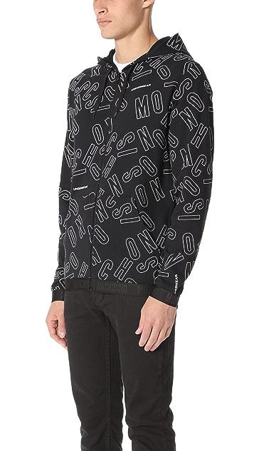 Moschino Cotton Fleece Lettering Zip Hoodie