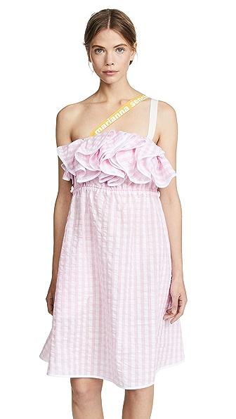 MARIANNA SENCHINA Ruffle Seersucker Dress in Pink Seersucker