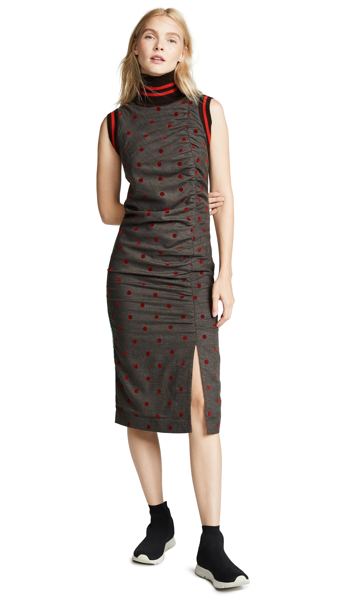 Marianna Senchina Sport Stripe Dress In Brown With Red Polka Dot
