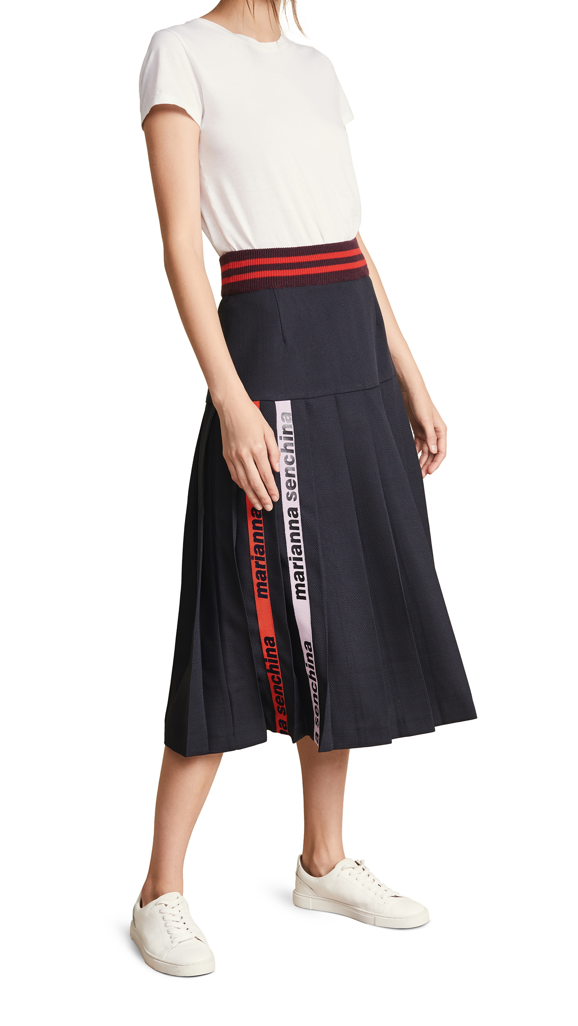 MARIANNA SENCHINA Pleated Skirt in Dark Blue