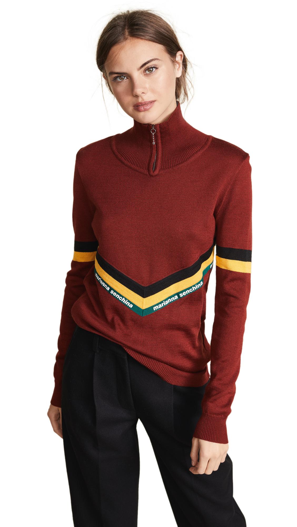 MARIANNA SENCHINA Turtleneck Sweater in Bordeaux/Black