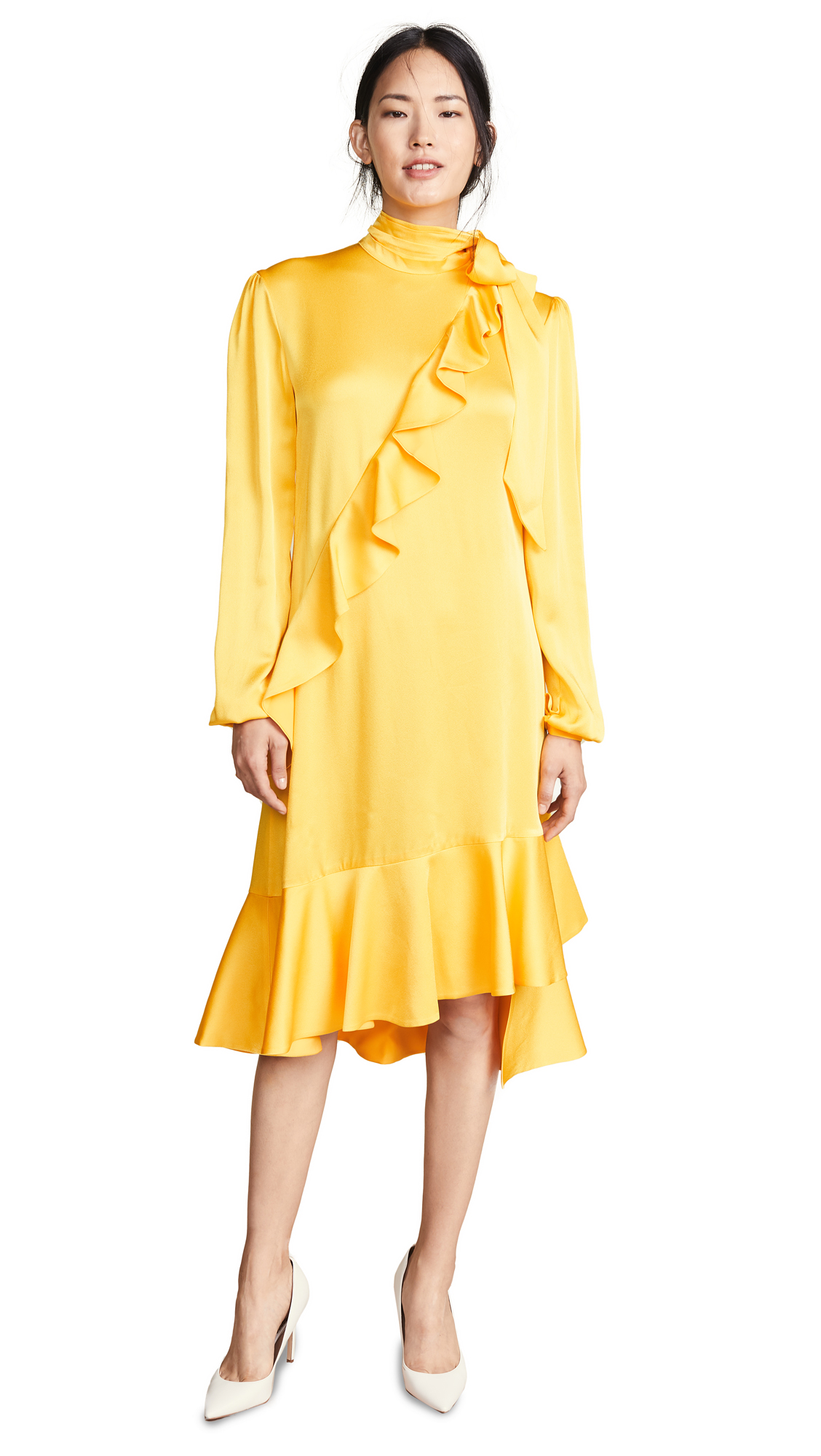 Marianna Senchina Midi Turtleneck Dress In Yellow