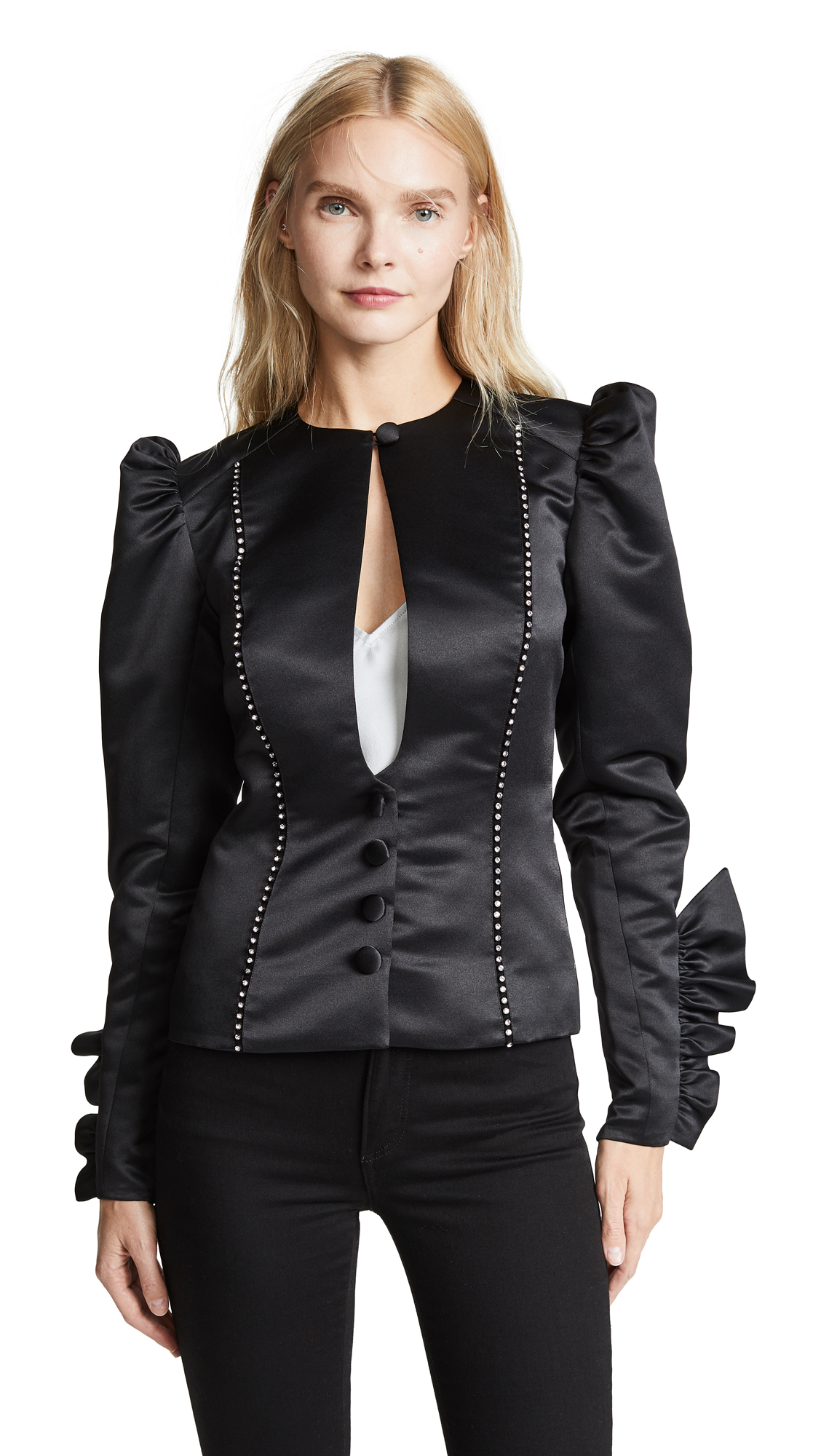 MARIANNA SENCHINA Jacket With Crystal Inserts in Black