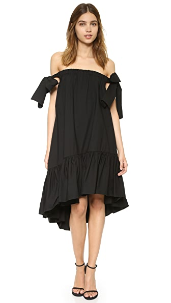 Msgm Off Shoulder Dress - Black