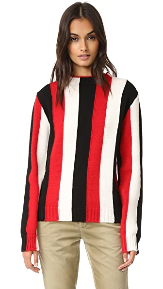 MSGM Vertical Stripe Crew Sweater