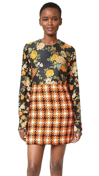 MSGM Silk & Plaid Dress - Orange Multi