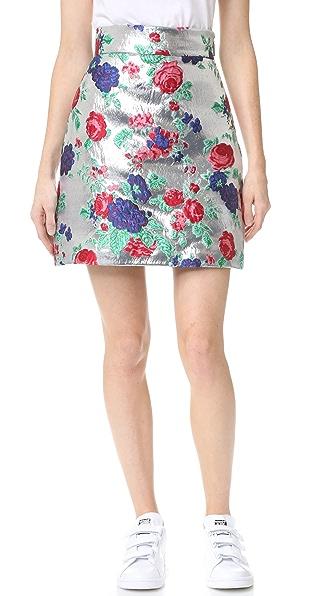 Msgm Metallic Floral Skirt - Silver