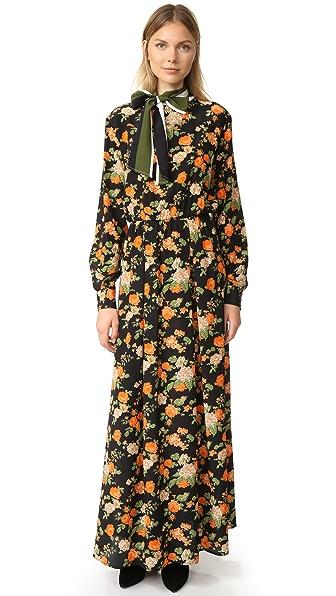 MSGM Макси-платье с цветочным рисунком