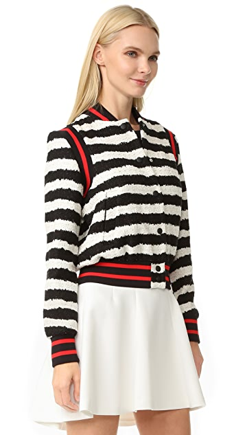 MSGM Striped Tweed Bomber Jacket