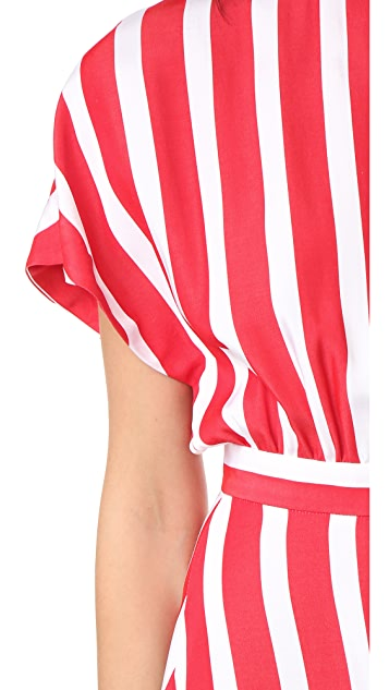 MSGM Striped Asymmetrical Dress