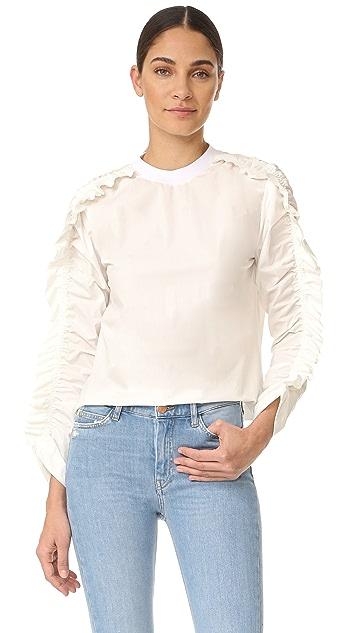MSGM Ruffle Sleeve Long Sleeve Blouse