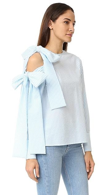 MSGM Seersucker Open Shoulder Tie Blouse