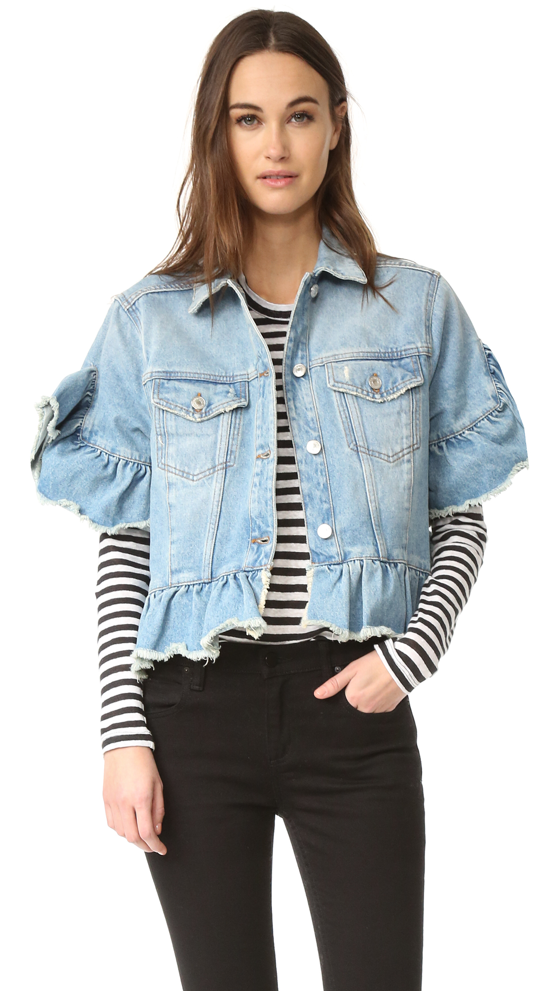 ea32cd2493 MSGM Short Sleeve Ruffle Denim Jacket | SHOPBOP