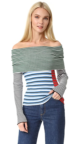 MSGM Off Shoulder Striped Sweater | SHOPBOP