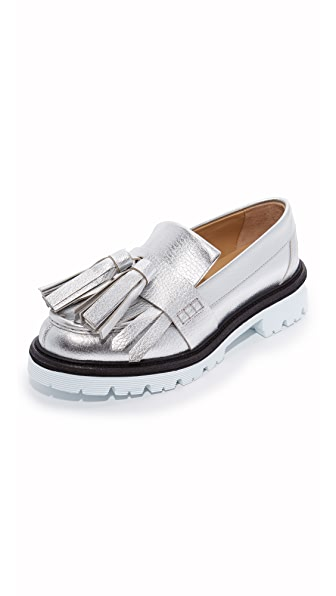 MSGM Fringe Tassel Loafers - Silver