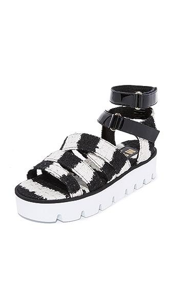 MSGM Multi Strap Sandals - Black/White