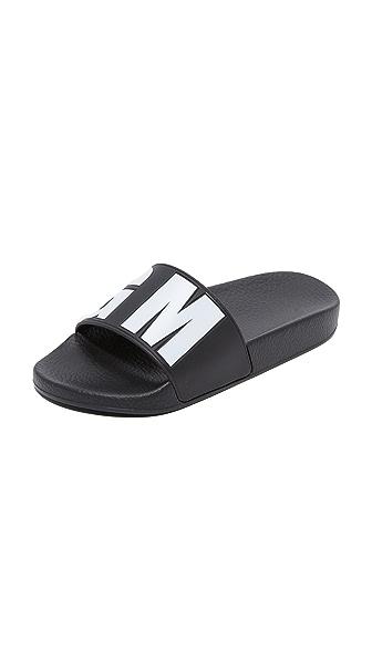 MSGM Debossed Pool Slides - Black/White