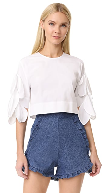MSGM Poplin Top with Side Ties