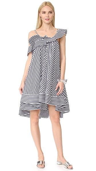 MSGM Stripe Ruffle Dress