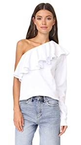 MSGM One Shoulder Ruffle Sweatshirt