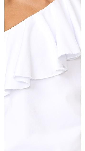 MSGM One Shoulder Ruffle Sweatshirt