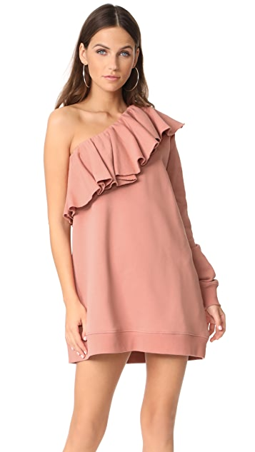 MSGM One Shoulder Sweatshirt Dress
