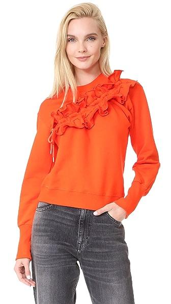 MSGM Diagonal Ruffle Sweatshirt In Orange