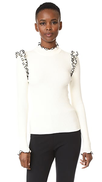 MSGM Ribbed Ruffle Sweater In White W/ Black