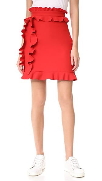 MSGM Side Ruffle Skirt - Red