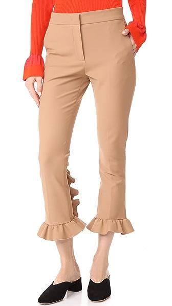 MSGM Slim Ruffle Pants - Camel