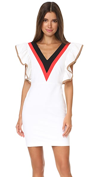 MSGM Ruffle V Neck Dress - White Combo