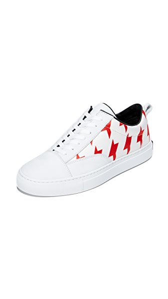 MSGM Midcut Cupsole Sneakers In Red/White