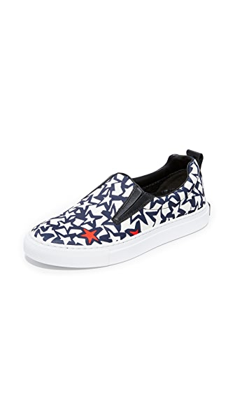 MSGM Slip On Sneakers In Blue/White