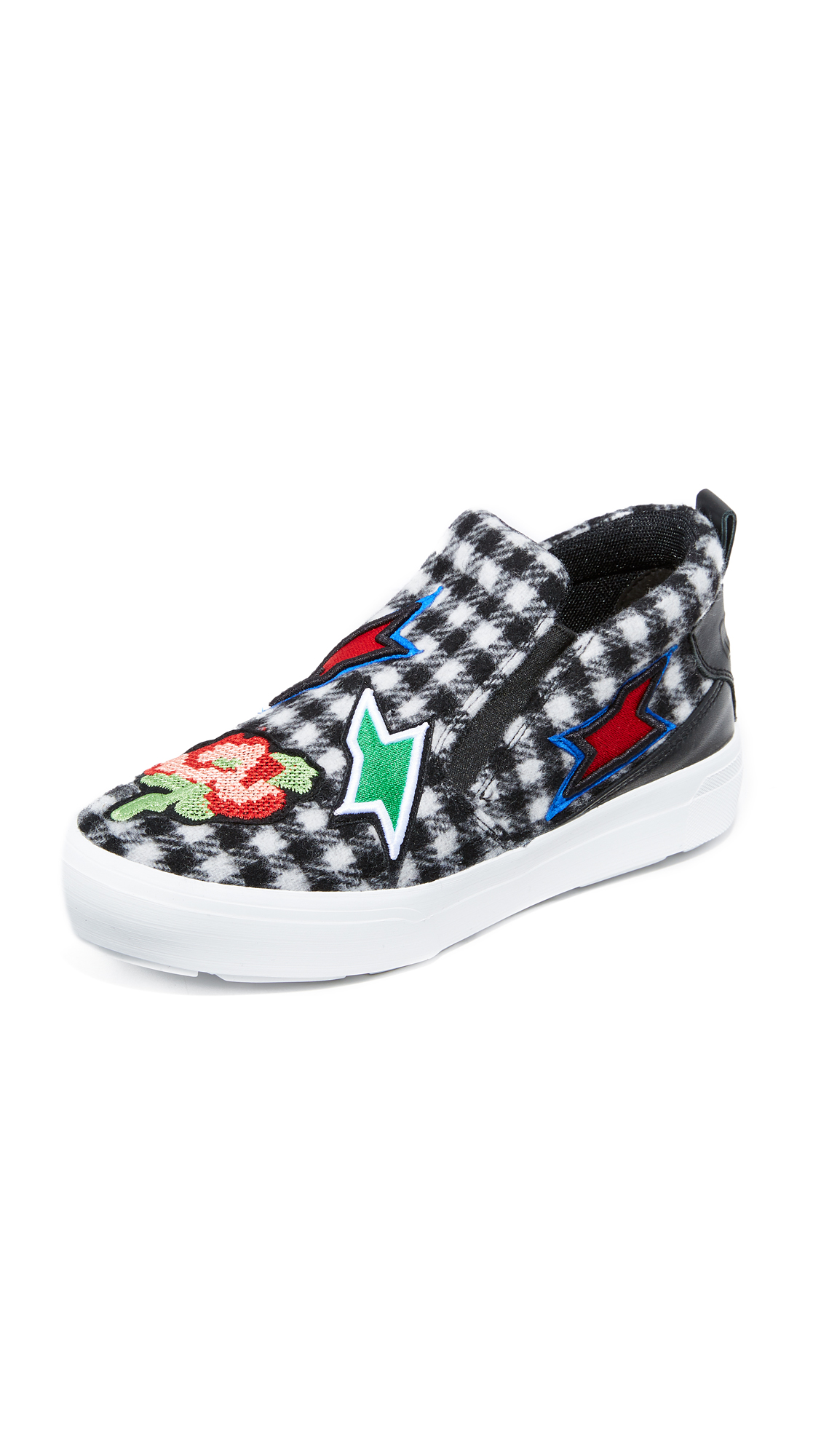 MSGM Ollie Slip On Sneakers - Tweed Patchwork