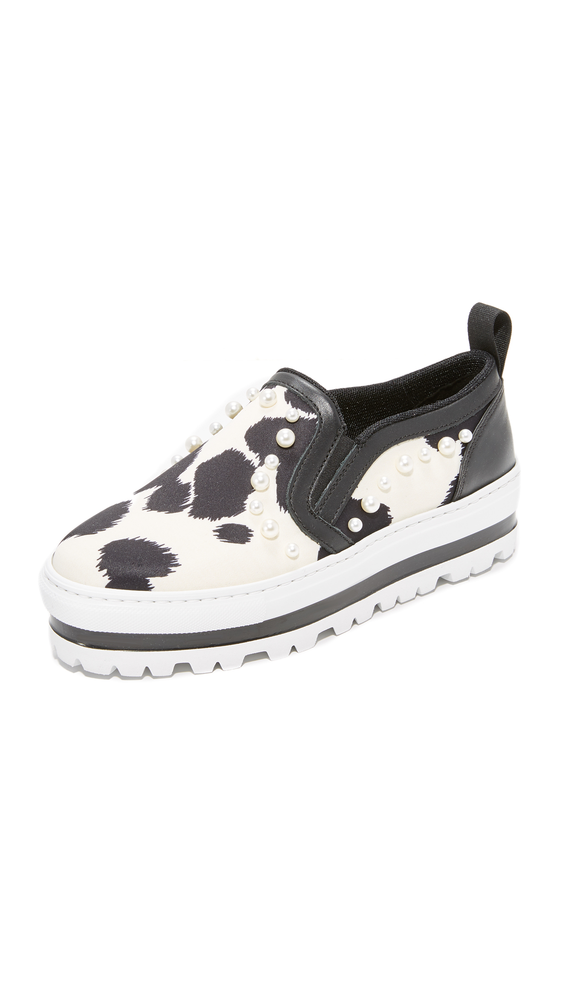 MSGM Wedge Slip On Sneakers - White/Black