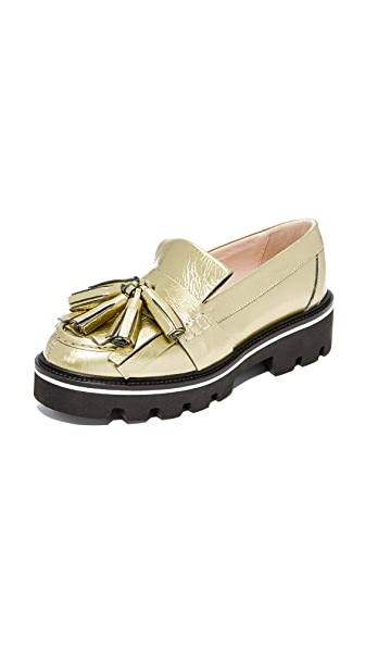 MSGM Tassel Loafers In Gold