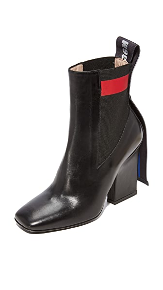 MSGM Striped Band Chelsea Boots In Black