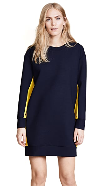 MSGM Colorblocked Cady Dress In Navy/Yellow