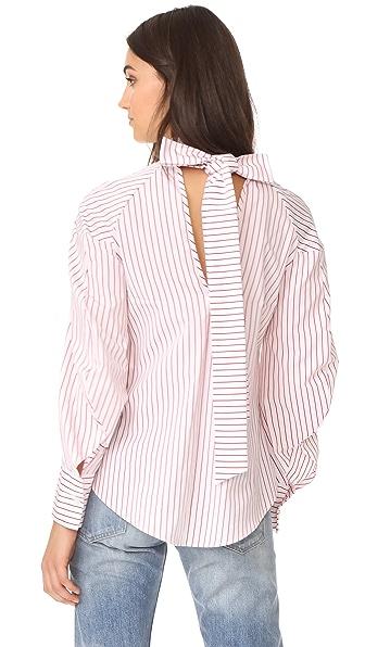 MSGM Poplin Stripe Tie Back Blouse