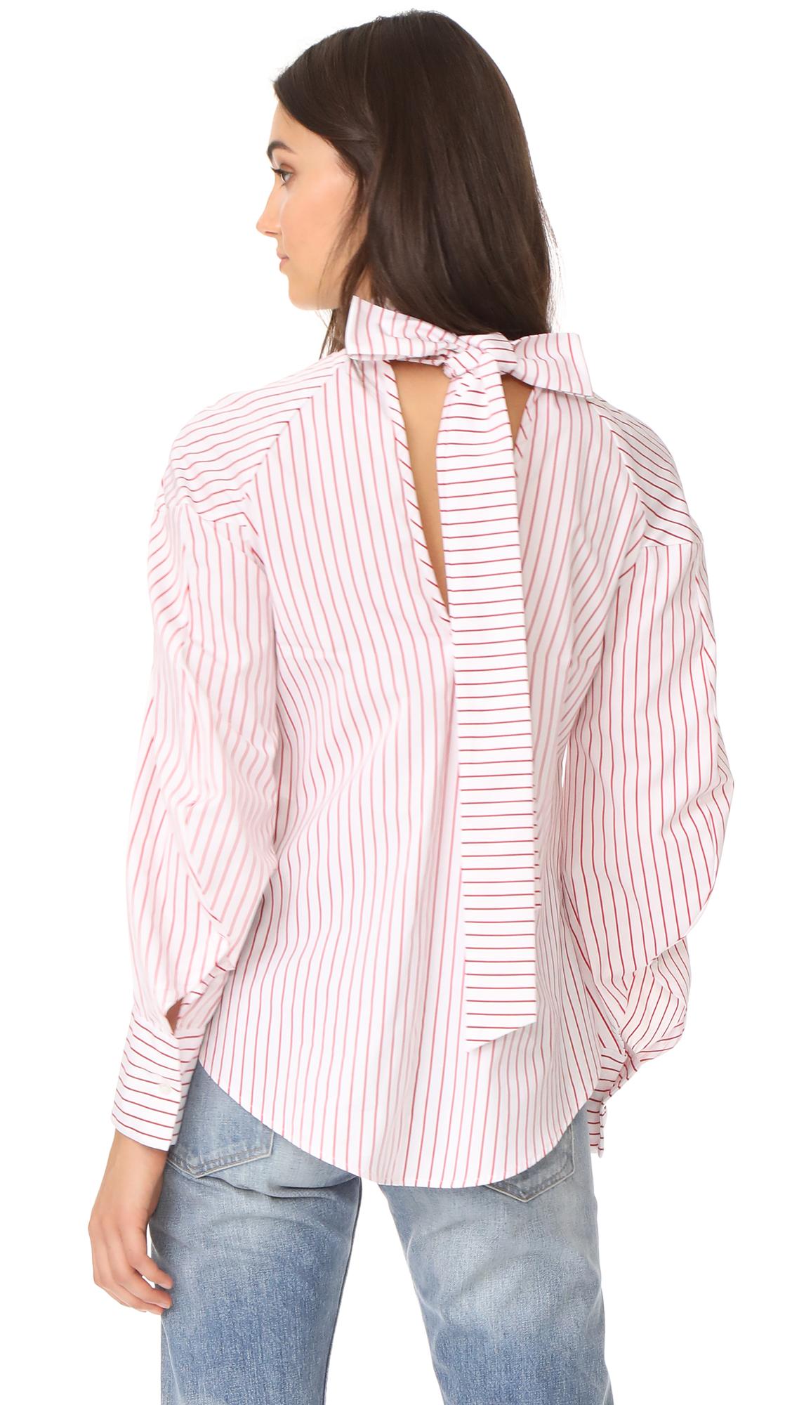 MSGM Poplin Stripe Tie Back Blouse - Red Stripe