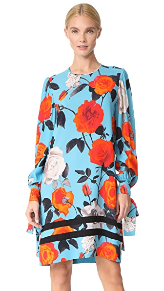 MSGM Rose Print Dress In Teal Multi