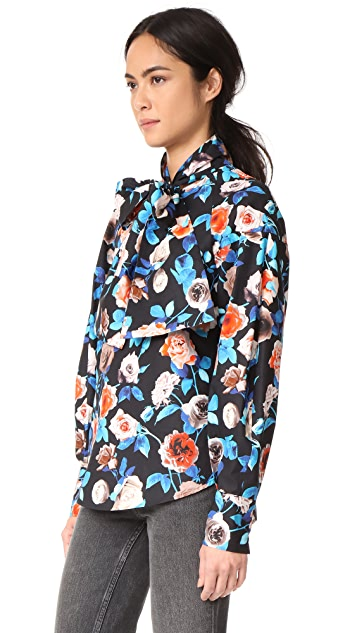 MSGM Poplin Floral Blouse with Tie