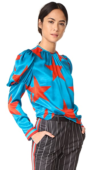 MSGM Star Print Silk Blouse In Teal Star